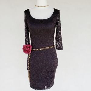 Lace Edgy Little Black Party Dress